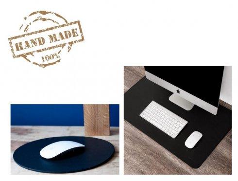 PC blazinica 55x35 cm + podloga za miško - usnjen črn luksuzni SET 3 kos