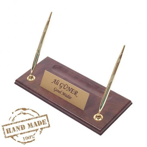 Office pen standleather brown base with gold nameplate + 2 gold pens