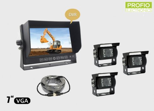 "Set for parking with 7"" LCD monitor with recording + 3x waterproof camera with 150° angle"