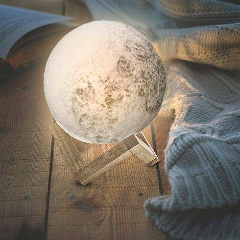 Lampe de nuit lune lampe tactile 3D galaxie lumineuse (éclairée)