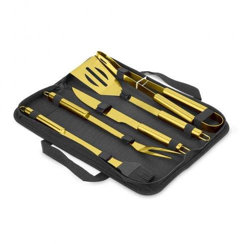 Akcesoria do grillowania - zestaw grillowy 5 szt. ZŁOTE narzędzia