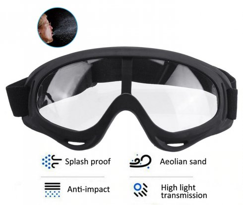 Transparent protective goggles with built-in foam against viruses