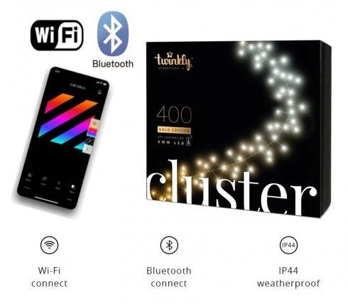 Smart svetelnáreťaz 6m - Twinkly Cluster - 400 ks AWW dióda - biele LED +BT +Wi-Fi