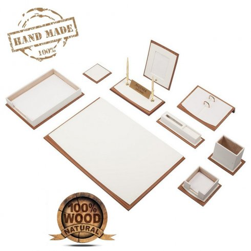 Tapis de bureau en cuir - Ensemble de luxe 11 pièces pour coussin de bureau (bois brun + cuir)