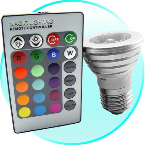 Bombilla LED multicolor con mando a distancia