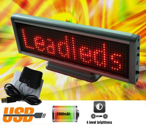 Interactive LED display with text sliding 22x7,6 cm - red