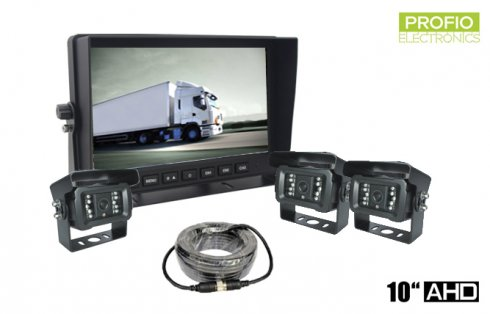 "Universal parking AHD set with 10"" monitor + 3x camera with 18 IR LEDs"