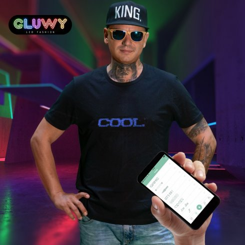 LED T-Shirt Gluwy mit individueller Ansage per App (iOS / Android) - Blaue LED
