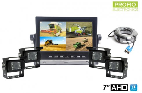 "Kit for reversing AHD LCD HD car monitor 7""+ 4x HD camera with 18 IR LEDs"