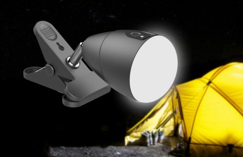 Outdoor LED light with a clip - powered by 5000 mAh battery