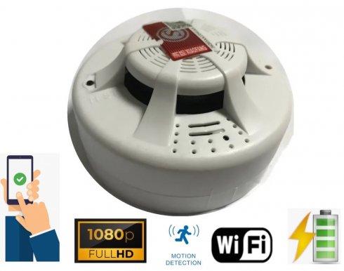 Шпионин на камерата за детектор на дим с FULL HD + WiFi + откриване на движение