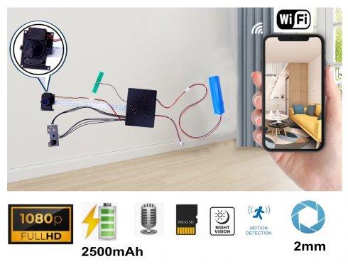 Камера Pinhole Full HD 2 mm микро невидим обектив 95 ° с външ. IR LED + WiFi / P2P