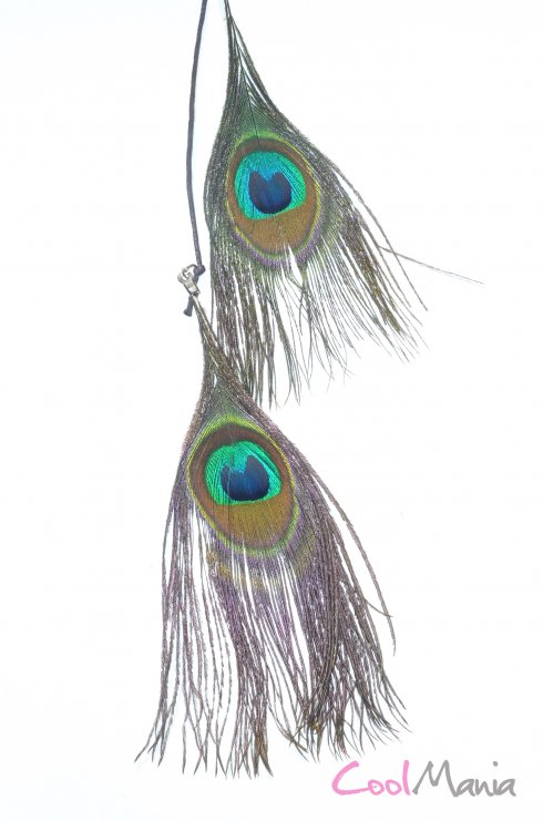 Feather hair extension – Peacock feathers