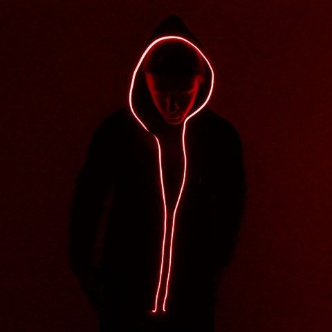 Led illuminating Hoodie - red