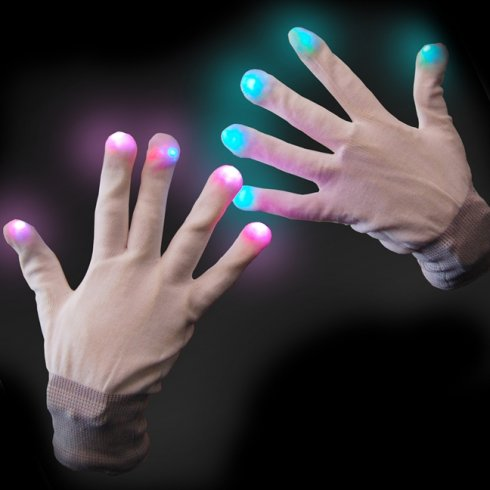 LED gloves - White