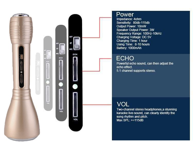 A Bluetooth vezeték nélküli mikrofon karaoke 2v1 hangszóróval  2b2e396b5e