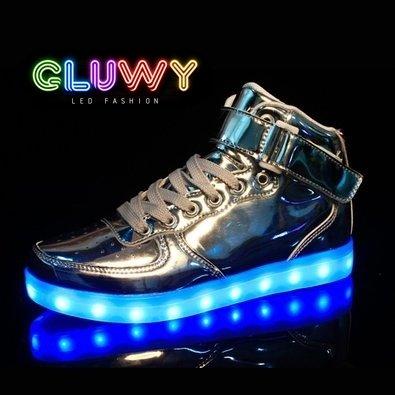 Svítící Sneakers boty - stříbrné  69323660fc