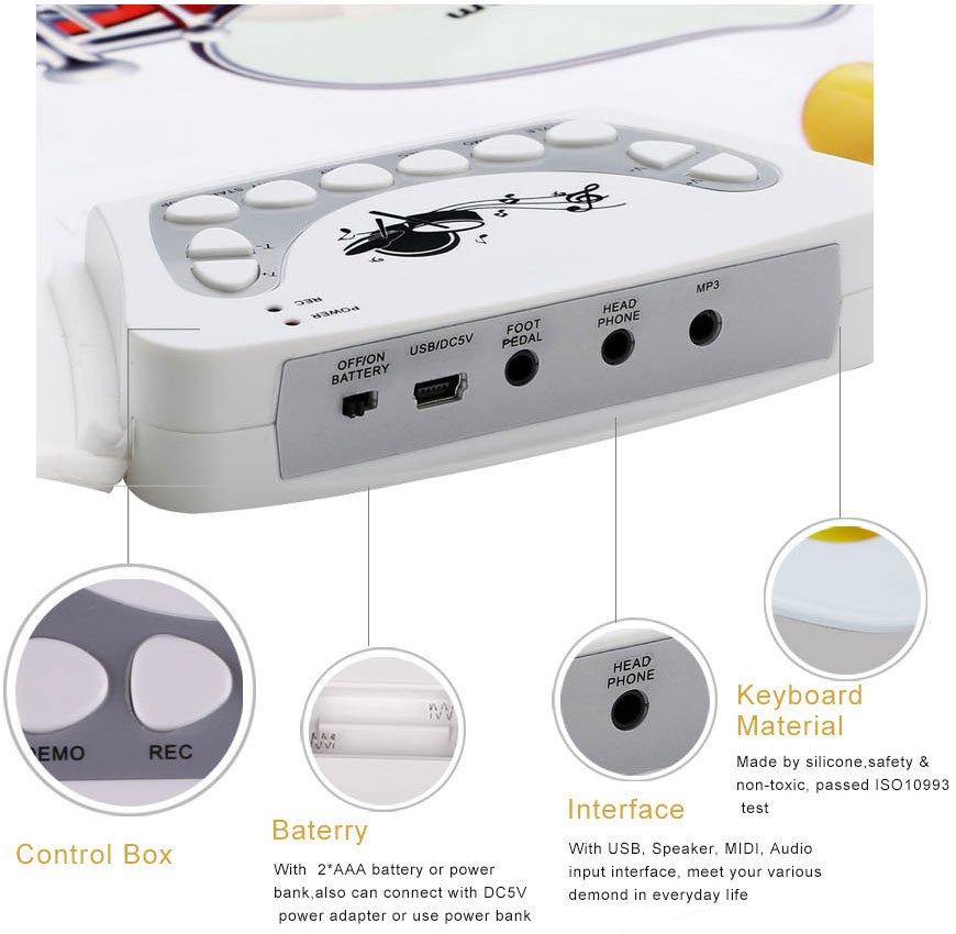 batterie lectrique set de silicone avec 9 tambours. Black Bedroom Furniture Sets. Home Design Ideas