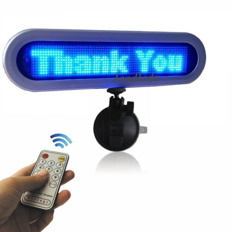 LED display for car - Blue on rear window 28 cm, 12 V ...