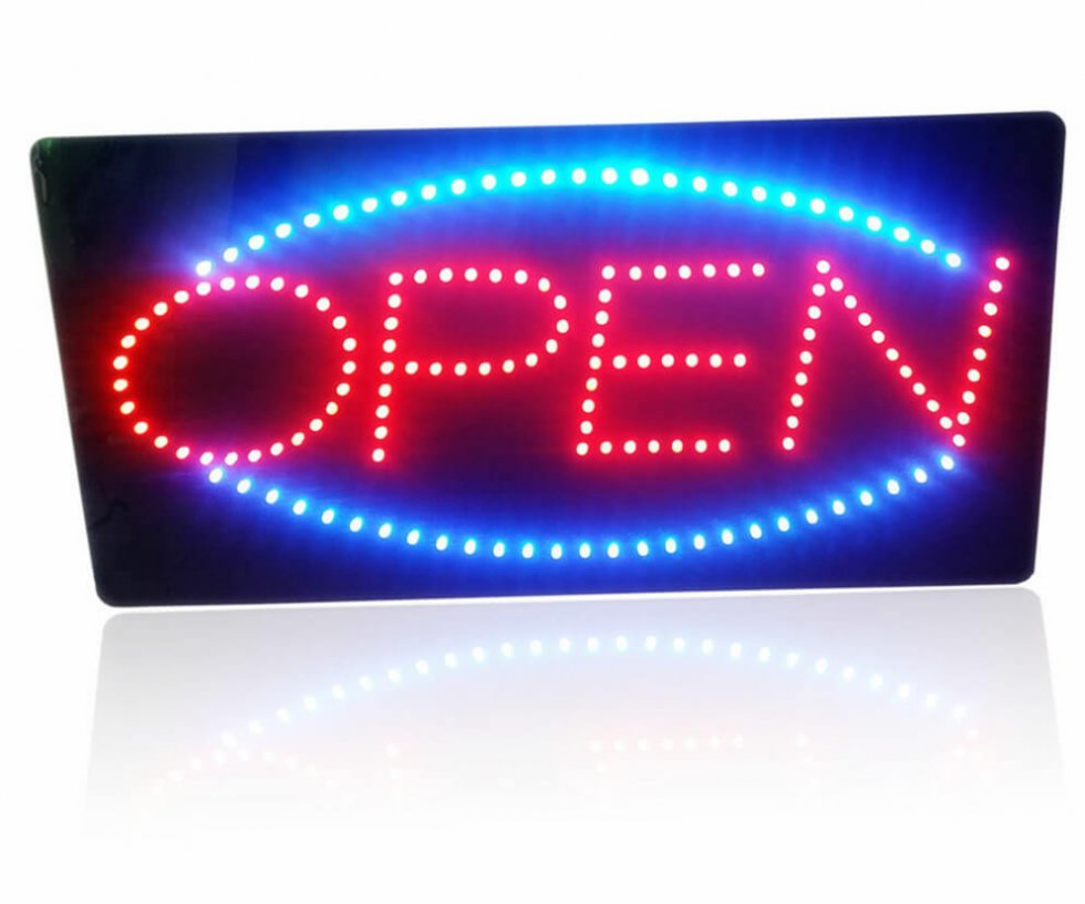 Open Sign Led Board Panel 48 Cm X 25 Cm Cool Mania