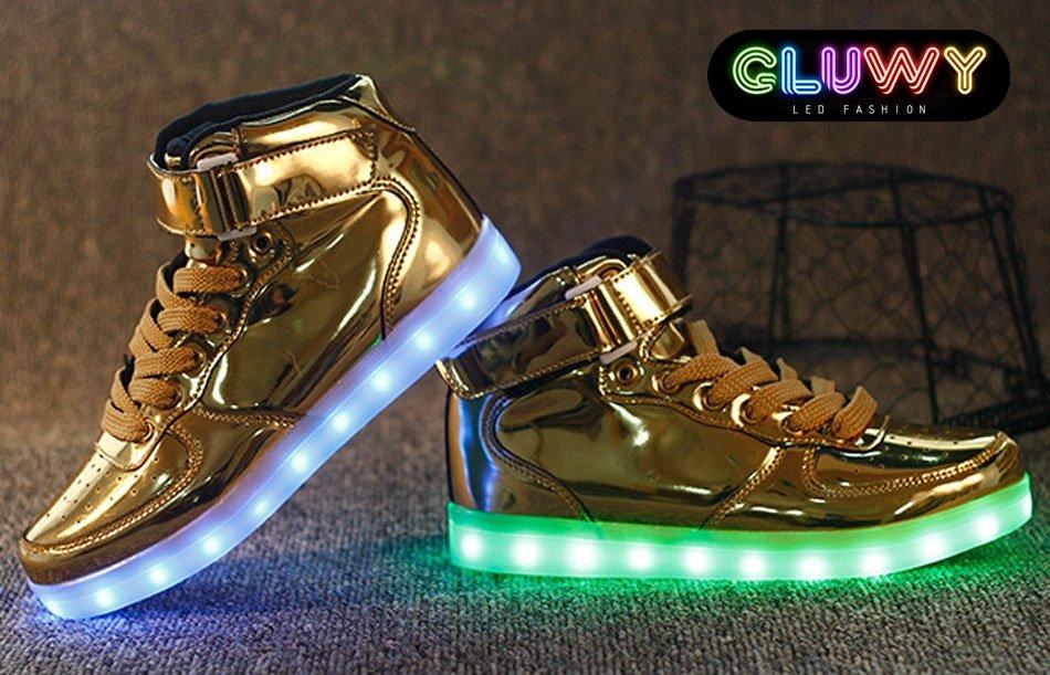 Sneakers tenisky svietiace s LED - zlaté  2148018192e