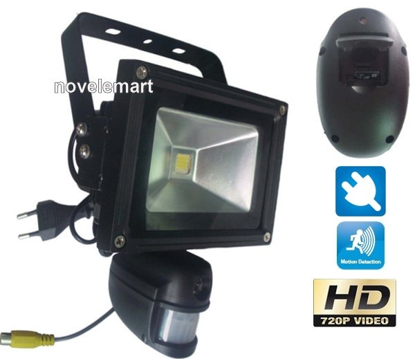 pir motion detector with camera and lamp cool mania. Black Bedroom Furniture Sets. Home Design Ideas