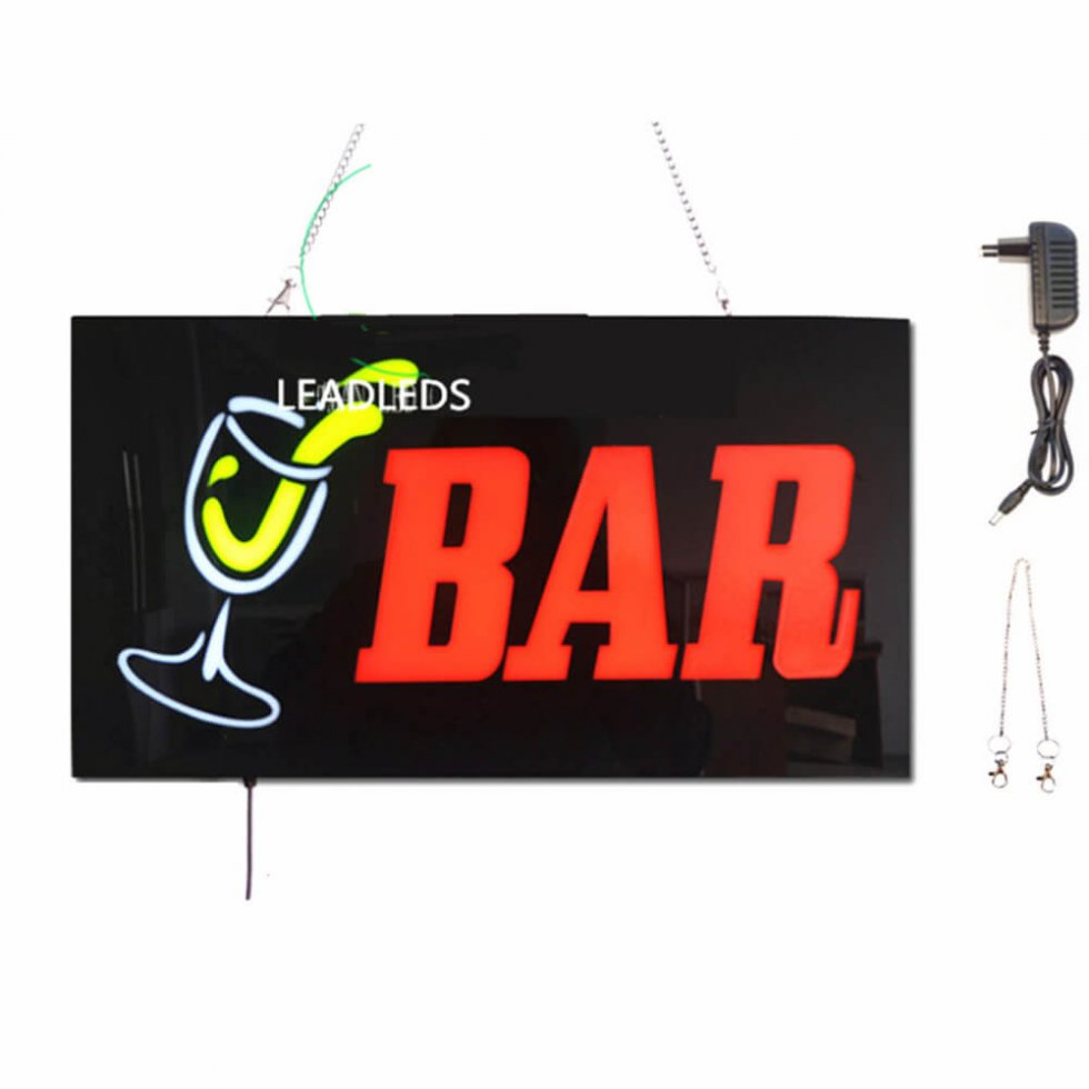 panneau de signalisation publicitaire led bar 43 cm x 23 cm cool mania. Black Bedroom Furniture Sets. Home Design Ideas