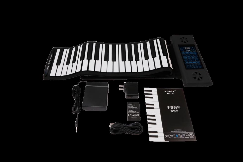 clavier en silicone piano enroulable avec 88 touches haut parleurs bluetooth cool mania. Black Bedroom Furniture Sets. Home Design Ideas