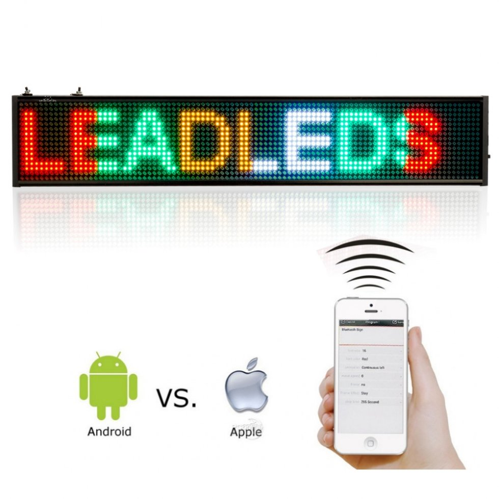 Programmable LED display 50 cm x 9,6 cm in 4 colors - red ...