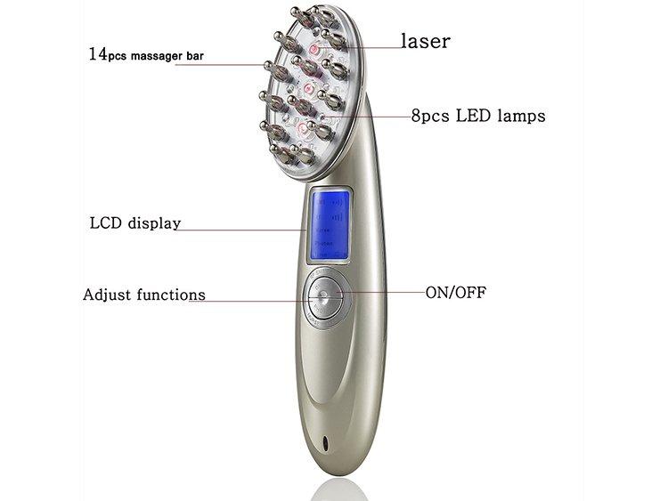 Prenosná masážna kefa na vlasy - laserová LED infračervená elektrická a983b566149