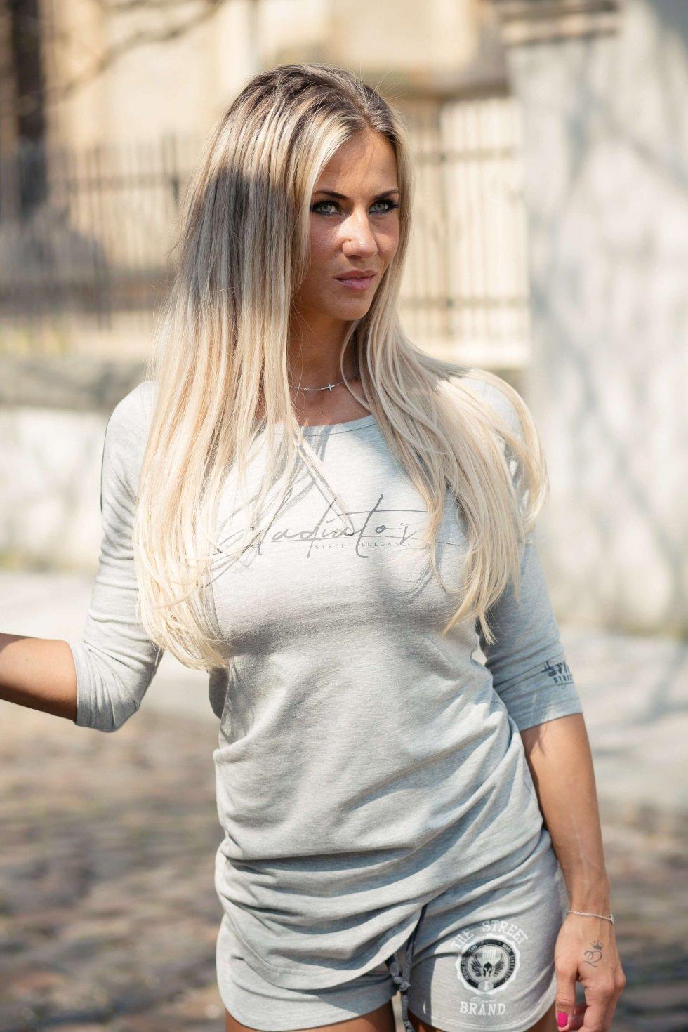3227c20e2fec GDR dámske tričko s dlhým rukávom - šedé