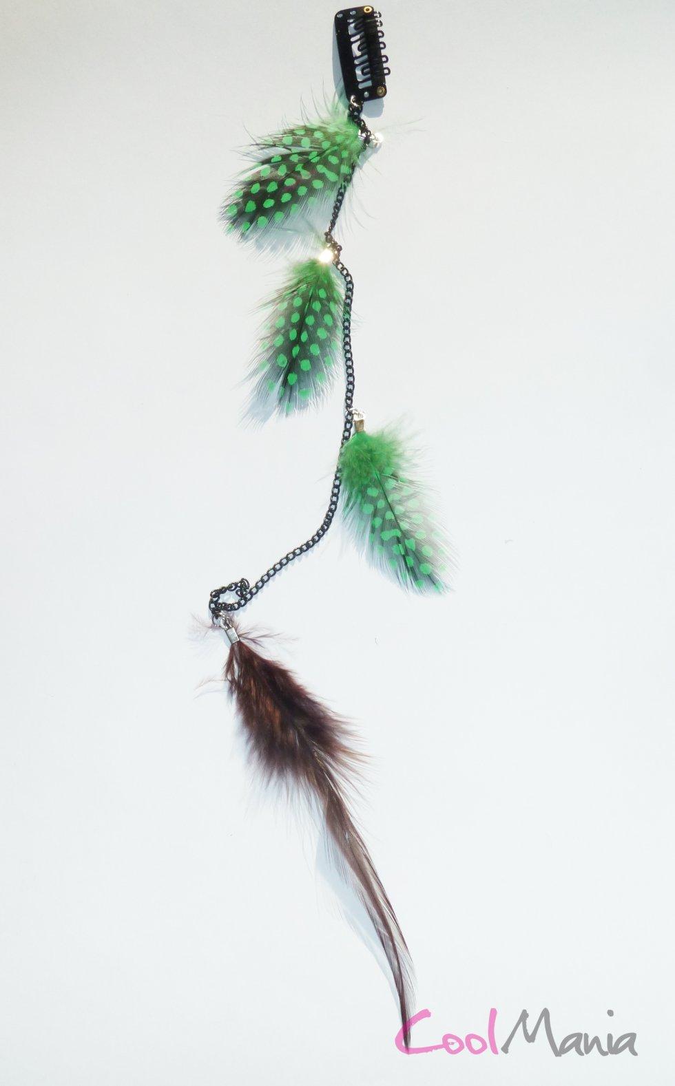 Extension de cheveux en plumes les plumes vert brun cool mania - Plume dans les cheveux ...